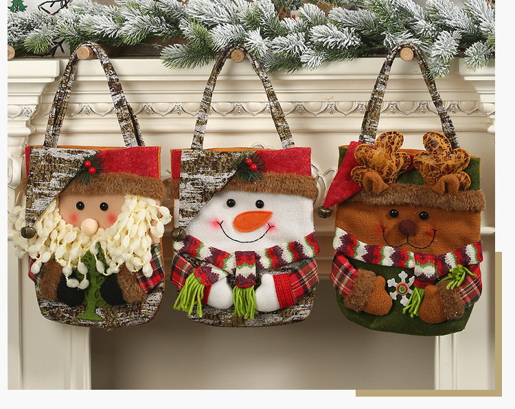 New Christmas decoration supplies 19 imitation bark gift bag creative three-dimensional elderly snowman deer gift bag NHHB182587