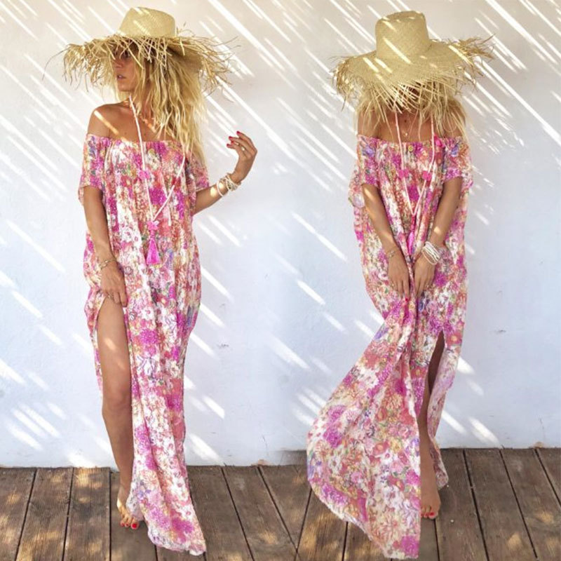 2019 cross-border AliExpress Amazon chiffon print tube top Bohemia holiday beach split dress long