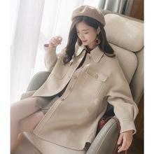 全澳毛襯衫式燈籠袖雙口袋雙面手工娃娃款韓國東大門毛呢大衣外套