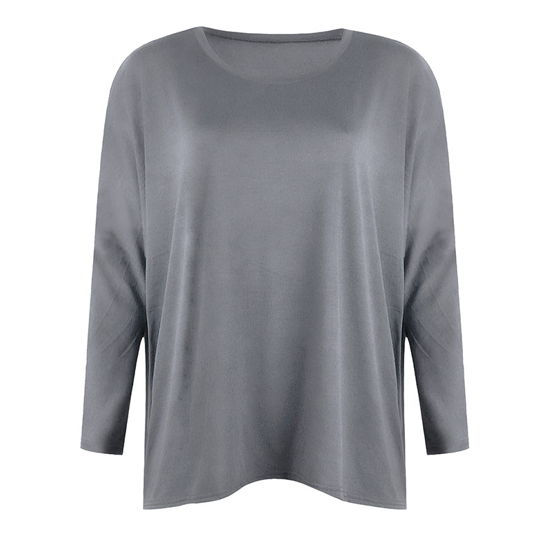 solid color loose round neck long-sleeved top NSKX10137