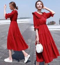 长裙女夏2019新款韩版气质收腰显瘦雪纺连衣裙红色超仙娃娃领裙子