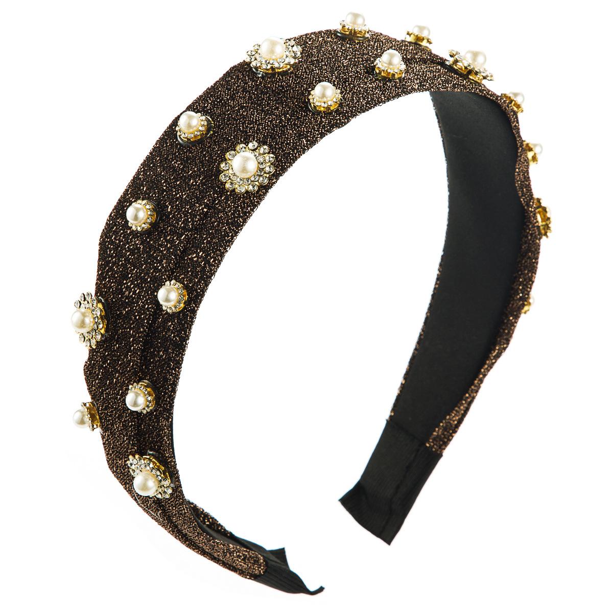 Dongxin gold silk cloth headband fashion diamond rhinestone pearl flower headband NHJE185813