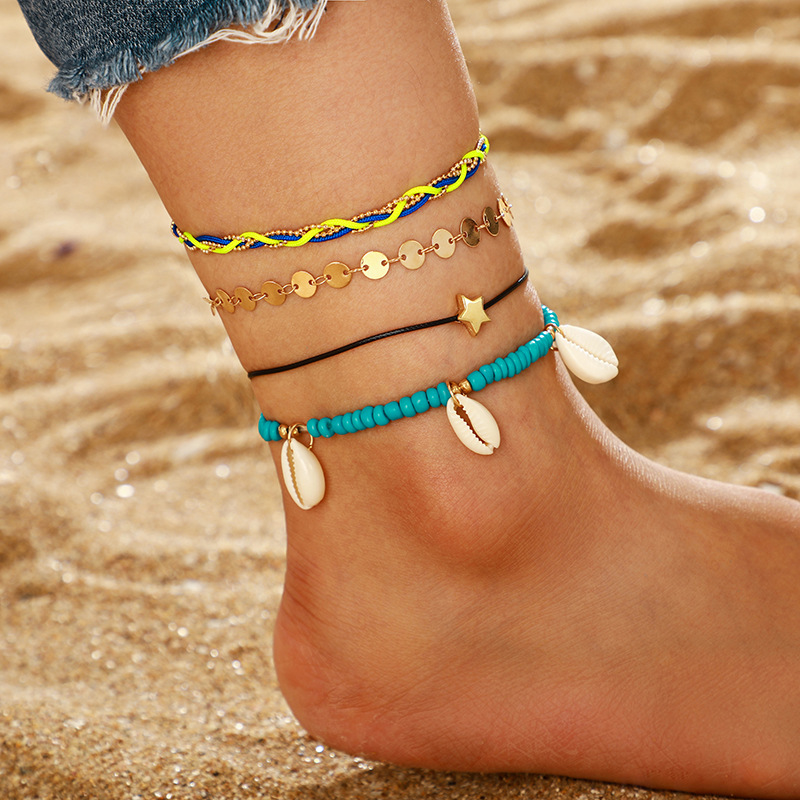 New Jewelry Wholesale Bohemia Pentagram Disc Shell Multilayer Anklet Beach Anklet 4 Piece Set NHGY187722