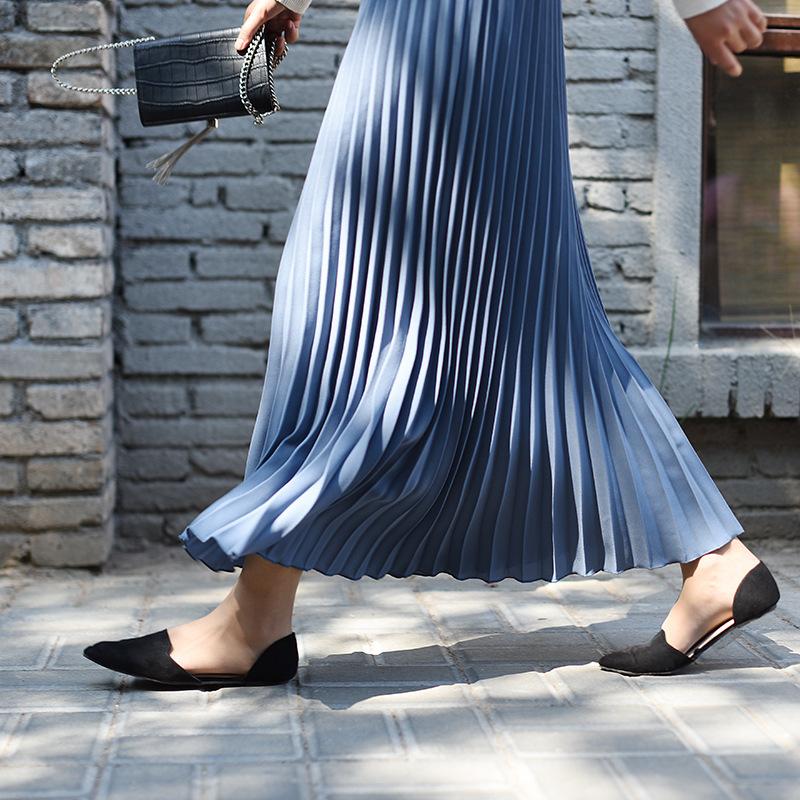 半身裙女春2021新款纯色气质半身裙高腰显瘦雪纺百褶裙大摆A字裙