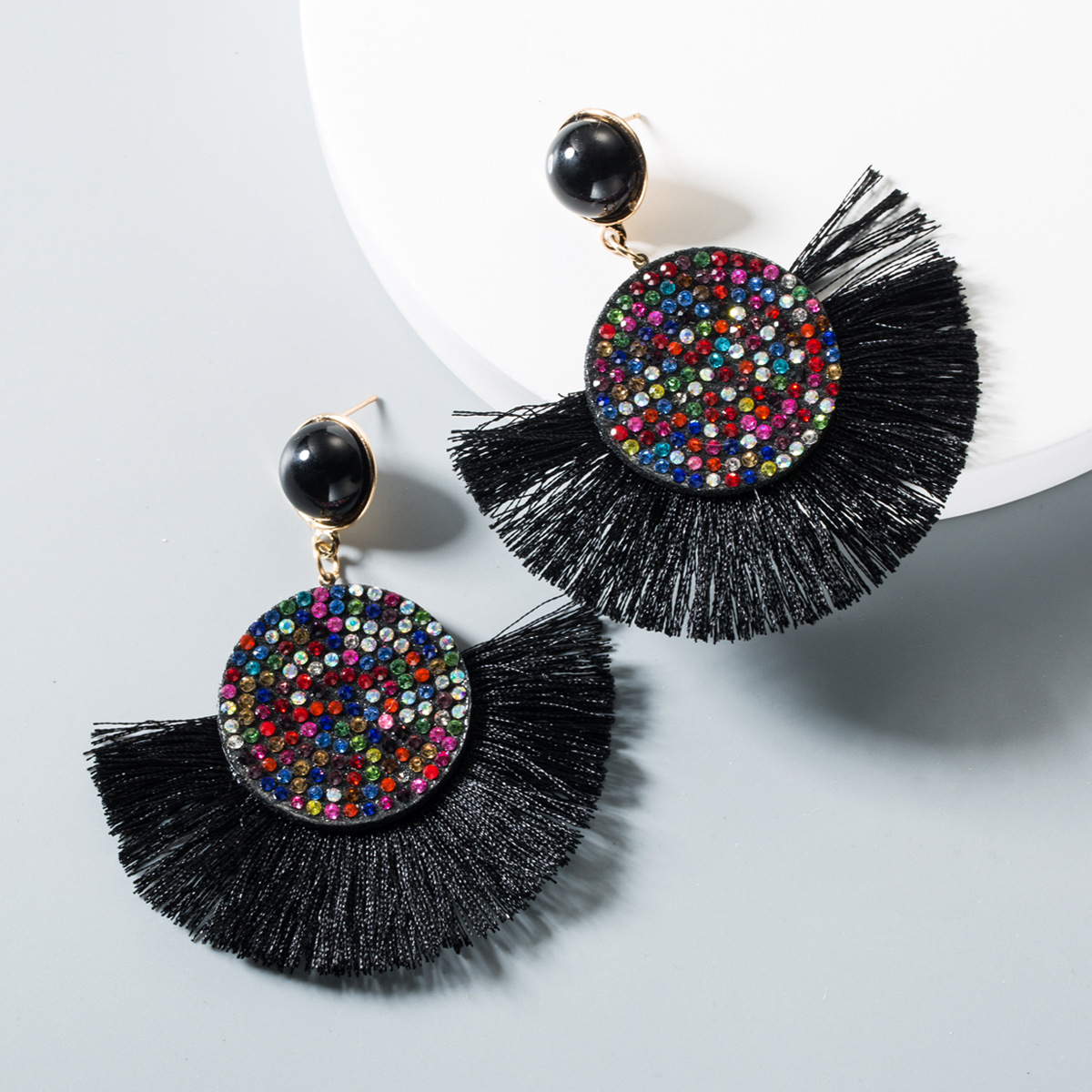New long rhinestone round tassel earrings NHLN145132
