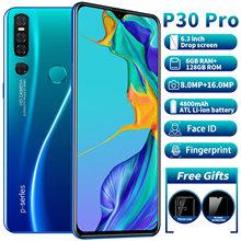 跨境P38 pro6.3寸水滴屏手机八核指纹一体机 2G+32G智能手机批发