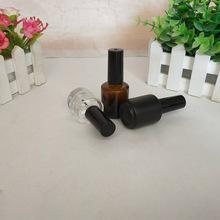 15毫升透明茶色噴涂黑指甲油玻璃瓶 空瓶指甲油瓶子分裝瓶批發