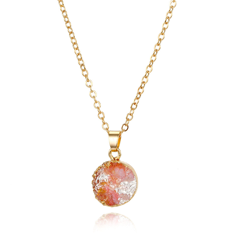 Jewelry small shell necklace imitation natural stone round pendant resin necklace NHGO196178