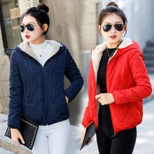 新款棉衣女短款輕薄小棉襖加絨加厚冬季棉服女裝學生羊羔毛外套潮