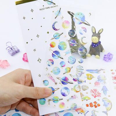 韩版可爱滴胶水晶贴纸 烫金透明日记手账贴纸 儿童卡通手帐小贴画|ms