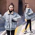 牛仔棉衣女2019新款冬装韩版宽松羊羔毛领学生bf百搭加棉牛仔外套