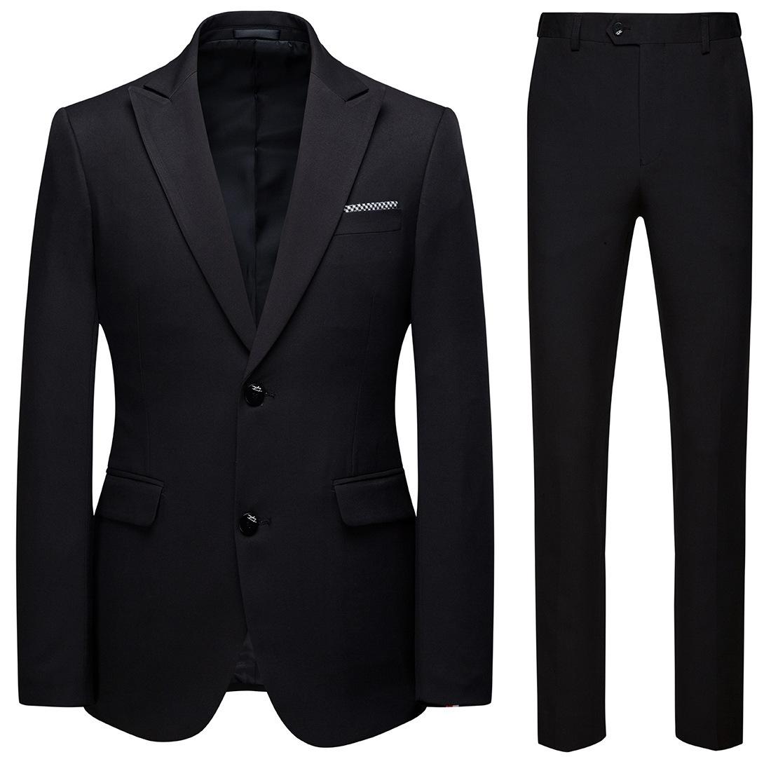 Autumn new men's business casual two piece suit two button men's slim British style large suit