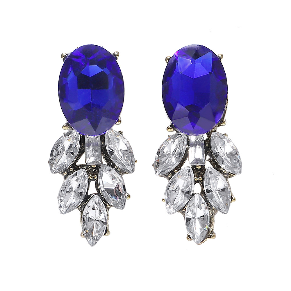 Alloy diamond-set gemstone earrings NHJQ171232