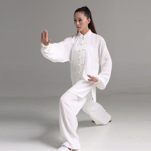 Taichi clothing wushu kungfu suit cotton and hemp long sleeves hemp cotton Tai ji quan martial arts performance clothes men's and women's wushu clothing