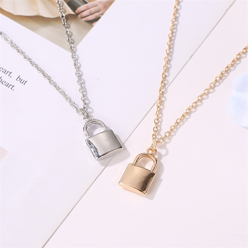 new necklace jewelry simple fashion metal plating lock necklace clavicle chain wholesale nihaojewelry NHCU232132
