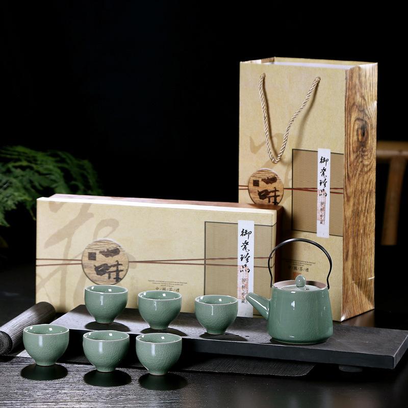 中式7头哥窑提梁壶茶具套装礼品开片功夫茶具可定制LOGO陶瓷赠品