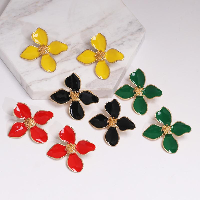 Womens Flower Dropper Alloy Earrings JJ190505120243