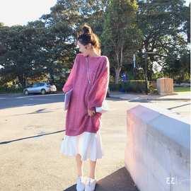 珊珊温柔气质时尚套装 镂空针织毛衣+吊带打底裙2019秋款裙子套装