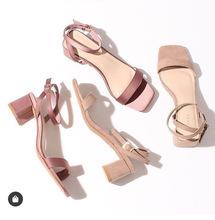 日本原单 Randa 2019新品 日系 方头 一字 粗跟 秀气 露趾 女凉鞋