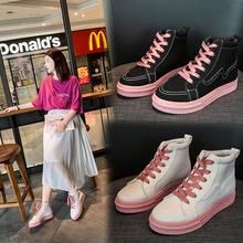 高帮帆布女鞋学生韩版2019夏季潮鞋百搭小白板鞋夏款网红新款布鞋