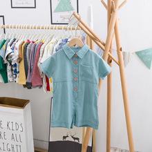 廠家直銷兒童連體褲夏季薄款寶寶純色連體衣1-3歲韓版短袖空調服