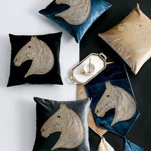 歐式平絨抱枕套創意馬頭燙鉆沙發靠墊酒店公寓樣板房家居軟飾定制