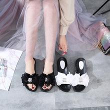 凉鞋女2019夏新款韩版网红拖鞋欧根纱时尚女鞋广州女鞋一件代发