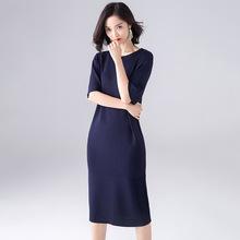 2019春夏新款女韓版寬松針織衫中長款春季連衣裙過膝打底毛衣裙子