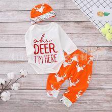 跨境ins热卖新款圣诞节款婴幼儿套装鹿头印花全棉哈衣+裤子+帽子