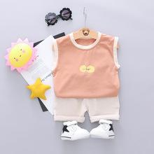 新款夏装日韩风清新水果印花背心短裤两件套儿童休闲家居服潮装