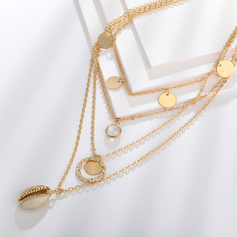 New jewelry fashion creative sequin shell necklace crystal geometric multilayer necklace women NHGY190661