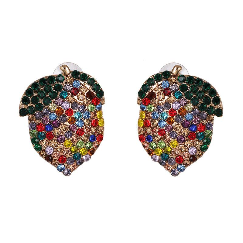 Colorful diamond earrings women lemon fruit earrings wholesale NHJJ191000