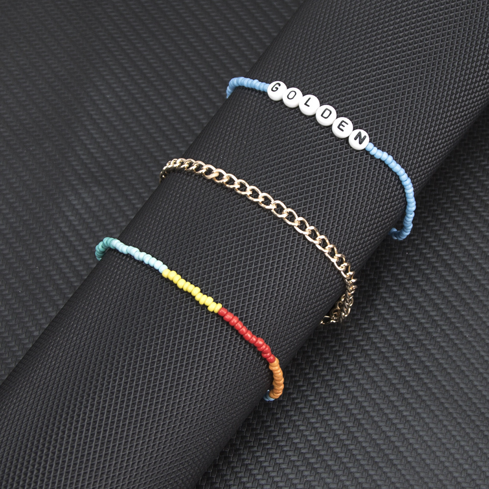 Elastic handmade multi-color rice beads letter anklet multi-layer wild fashion anklet women NHBQ183285