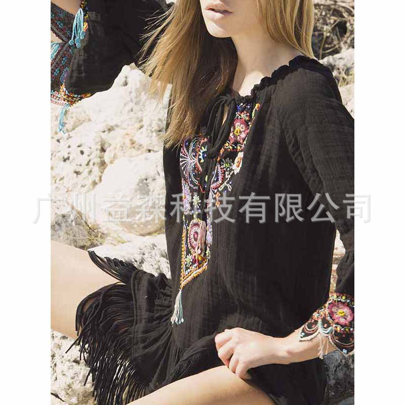 Cross border 2019 summer new Bohemian European and American women's black embroidery fringe tie Mini Dress