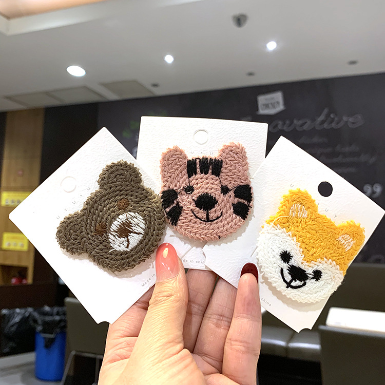 Korean wool embroidery cute cartoon small animal hair clip fashion side hair clip bangs clip BB clip NHSA201229
