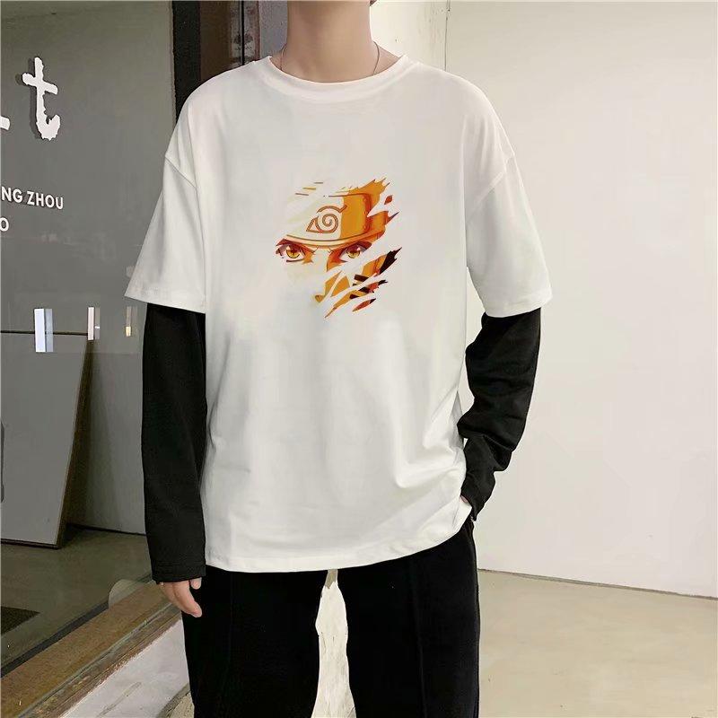 秋装潮牌假两件长袖t恤男装加肥加大码内搭打底衫韩版胖子上衣服