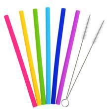 創意彩色兒童通用硅膠吸管套裝加粗吸管奶茶果汁飲料攪拌棒軟毛刷