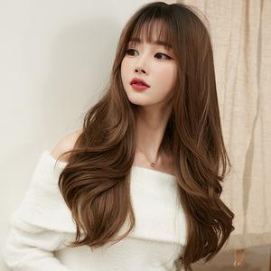 Wavy Hair Wigs Wig female long curly hair full head set fluffy natural curly hair dog gnawing bangs whole hair set