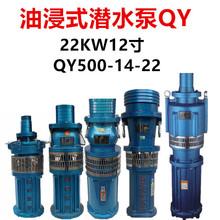 12寸油浸式潛水泵農用大流量排灌溉池塘深井下抽水QY500-14-22KW