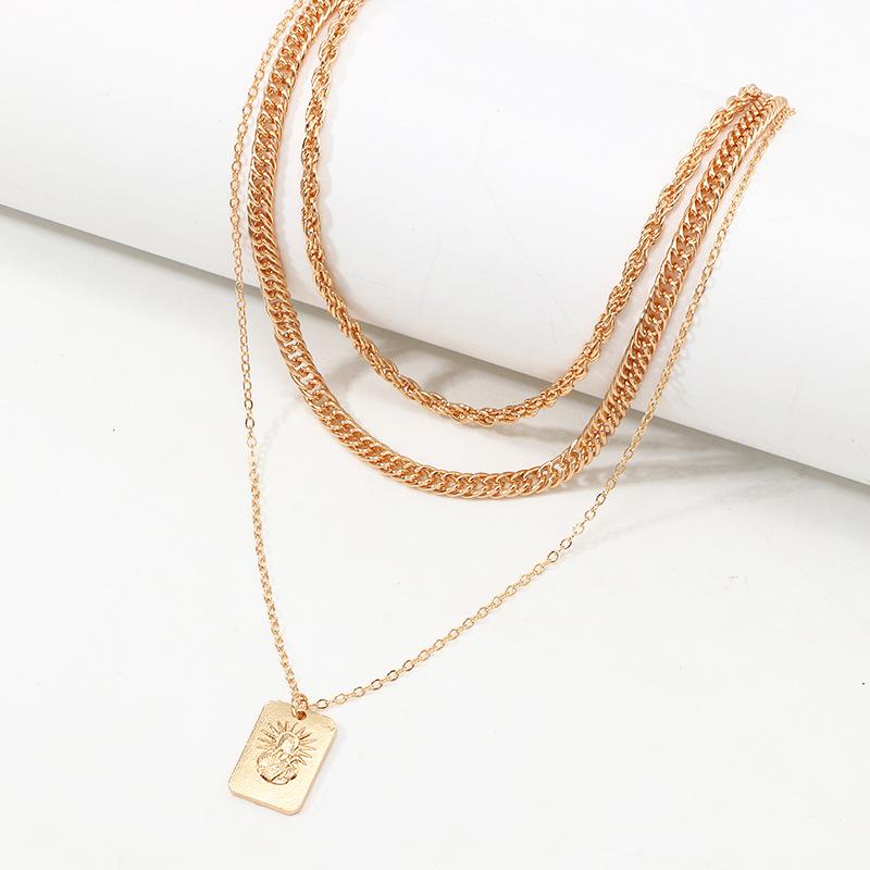 Nuevo collar de viento creativo Frosty Wind aleación de moda collar de cadena de 3 capas Sun NHNZ183839