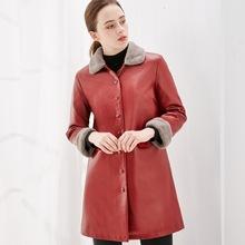 新款女士皮衣中长款皮夹克加厚加绒皮毛一体皮大衣跨界电商供货