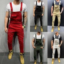 欧美新款扎染牛仔背带裤修身显瘦男长裤跨境欧洲站纯色牛仔裤男