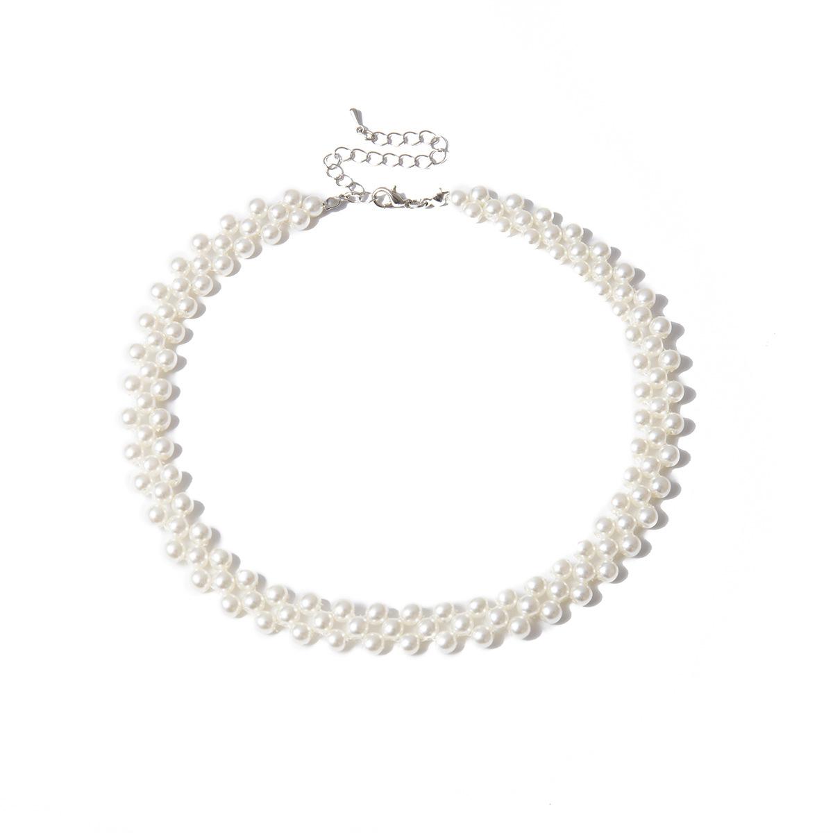 Fashion handmade geometric pearl choker NHXR153046