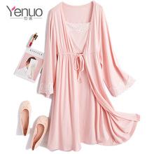 也诺2019夏季新款孕妇装纯棉孕妇睡衣时尚哺乳睡袍套装月子服代发