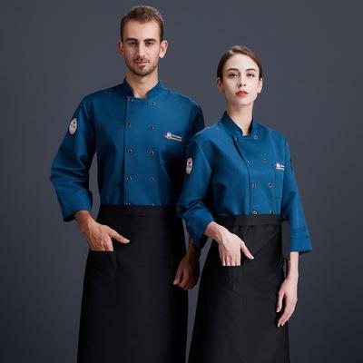 厨师工作服长袖秋冬款烘焙食堂厨房后厨工装餐饮西点LWC6003