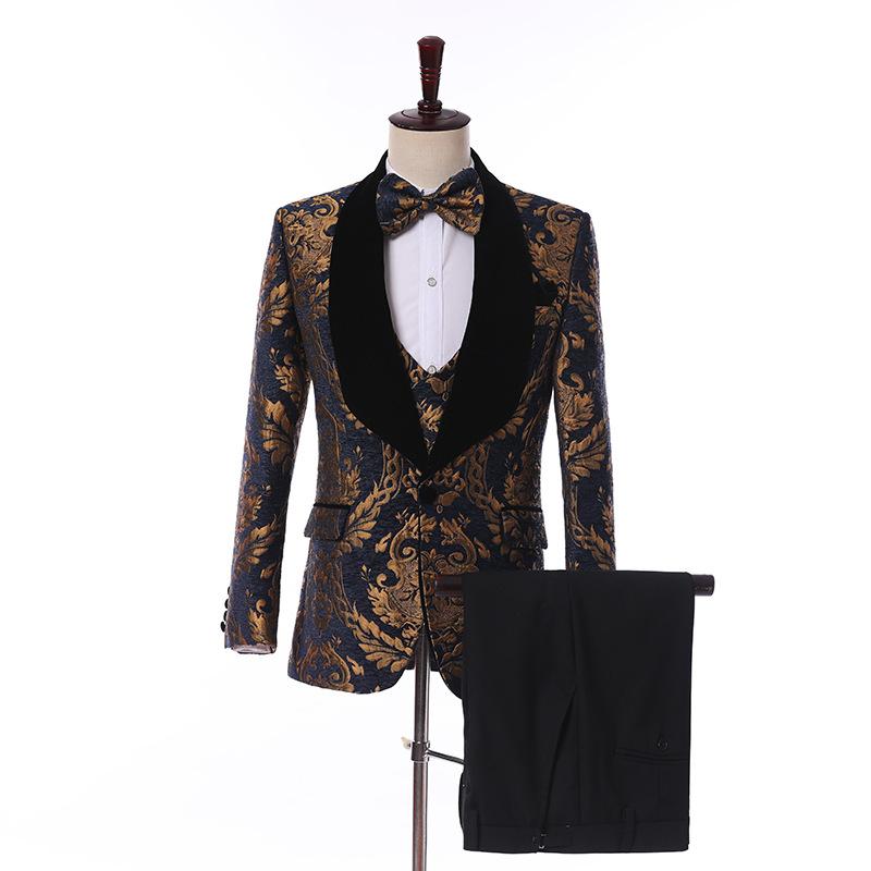 休闲小西装男套装韩版帅气男士西服三件套商务职业装正装婚礼礼服