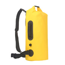 內置pvc袋雙層防水帶氣嘴可手提PVC夾網布30L可拆卸雙肩防水桶包