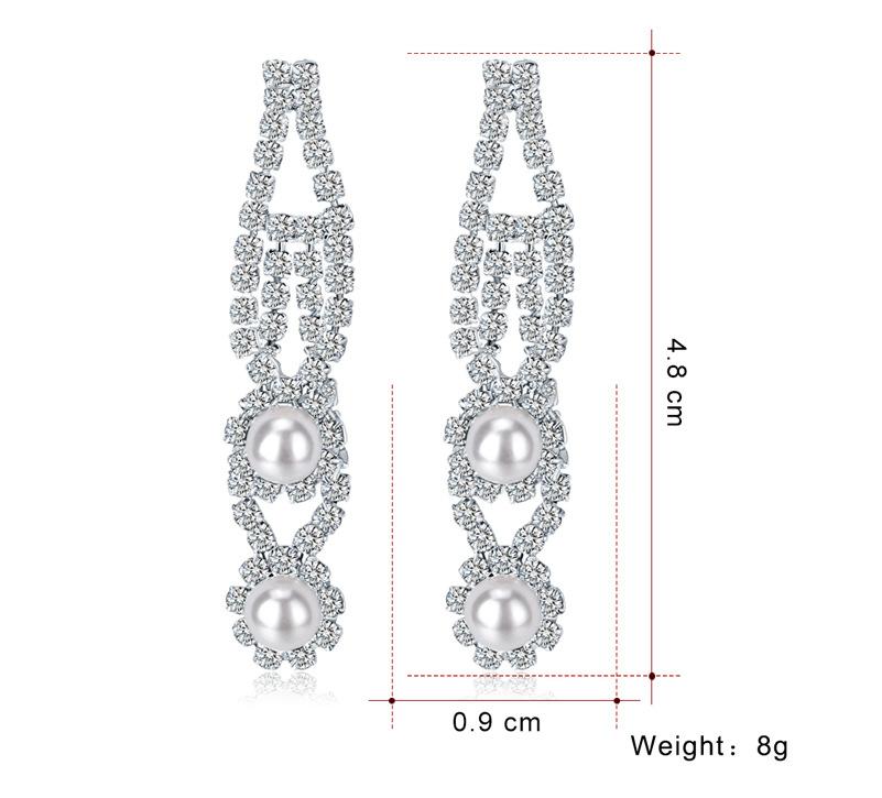 Fashion Alloy Cutout Beads and Rhinestone Earrings NHDR135127