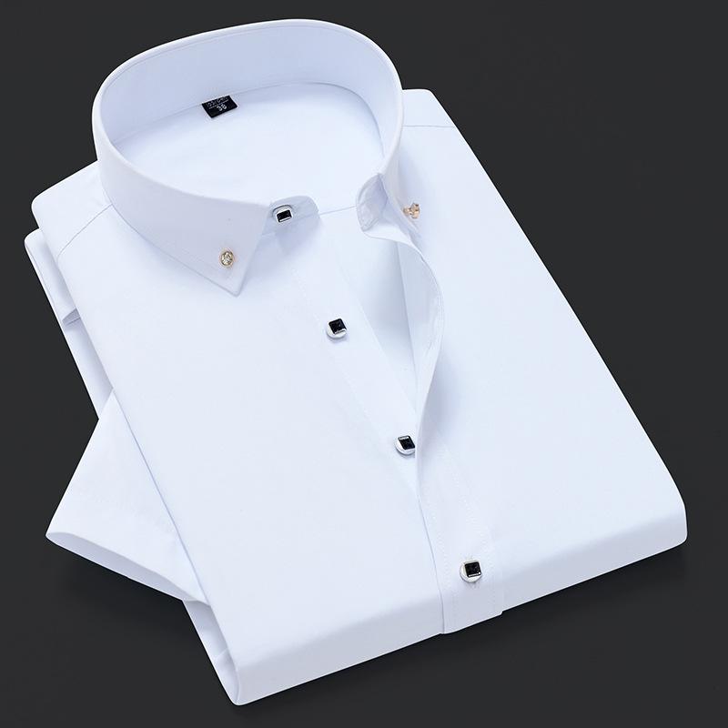 新款男士短袖衬衫扣领商务纯色衬衣韩版修身职业休闲装西装打底衫