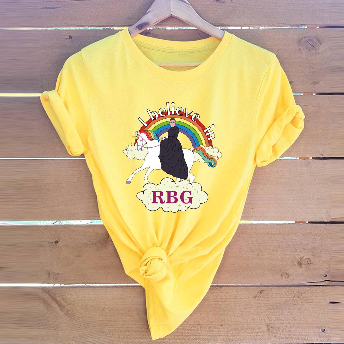 fun rainbow comfortable short-sleeved female T-shirt NSSN3372
